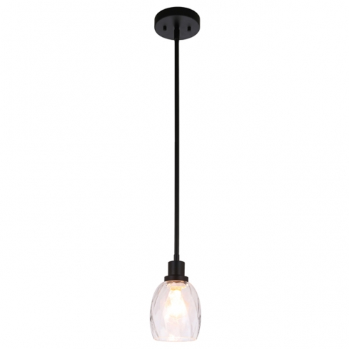 Pendant Light Modern 1 Light Mini Pendant Hanging Light with Clear Glass Adjustable Kitchen Hanging Ceiling Light in Matte Black  XB-P1210-MBK