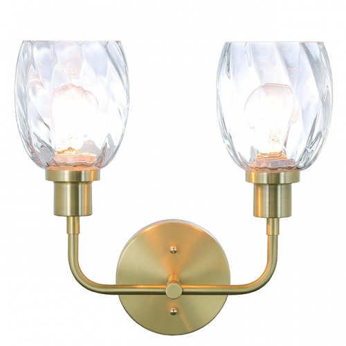 Wall Light 2 Light Wall Sconce with Clear Glass in Satin Brass Modern Bathroom Vanity Lighting for Bathroom & Kitchen  XB-W1210-2-SB