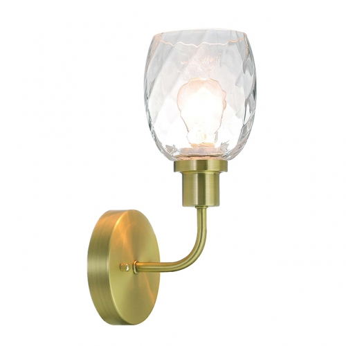 Wall Light 1 Light Wall Sconce with Clear Glass in Satin Brass, Modern Bathroom Vanity Lighting Suitable for Bathroom & Kitchen  XB-W1210-1-SB