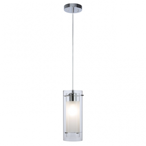 Pendant Lighting Contemporary 1 Light Pendant Hanging Light with Clear and Frost Glass in Chrome Mini Pendant Light  XB-P1159-CH