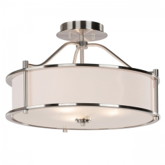 Semi Flush Mount Ceiling Light 18 inch 3 Light Close to Ceiling Light with Fabric Shade and Glass Diffuser, Brushed Nickel Drum Semi Flush Light for Dinning & Bedroom XiNBEi-Lighting XB-SF1199-BN