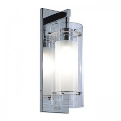 Wall Sconce 1 Light Wall Mount Light with Clear and Frost Glass Contemporary Chrome Bathroom Vanity Wall Light  XB-W1159-CH