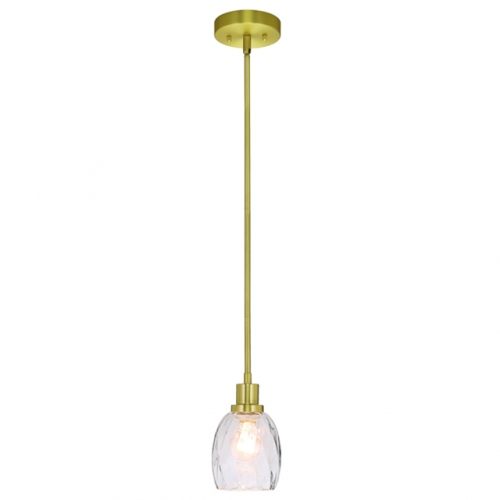 Pendant Light Modern 1 Light Mini Pendant Hanging Light with Clear Glass Adjustable Kitchen Hanging Ceiling Light in Satin Brass  XB-P1210-SB