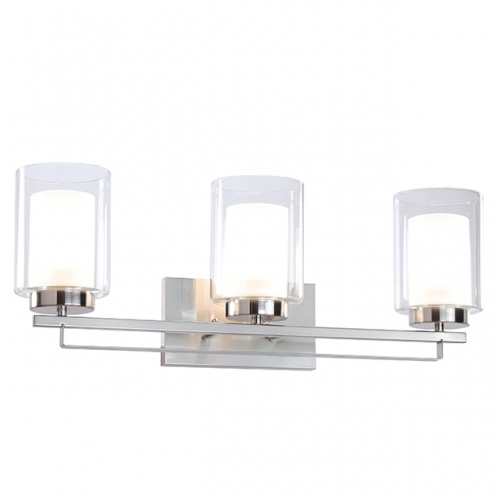 Wall Light 3 Light Bathroom Vanity Lighting with Dual Glass Shade in Brushed Nickel Indoor Modern Wall Mount Light for Bathroom & Kitchen  XB-W1195-3-BN