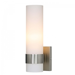Wall Light ADA Wall Sconce with Opal Cylinder Glass in Brushed Nickel, Bathroom Vanity Light with GU24 Bulb Suitable for Living Room & Corridor  XB-W1185-BN