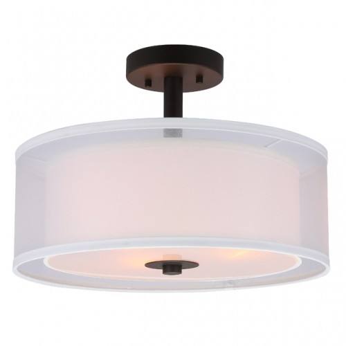 Semi Flush Mount Ceiling Light, 3 Light Drum Semi Flush Light, 16 Inch Close to Ceiling Light with Fabric Shade in Dark Bronze for Living Room & Bedroom XB-SF1194-DB