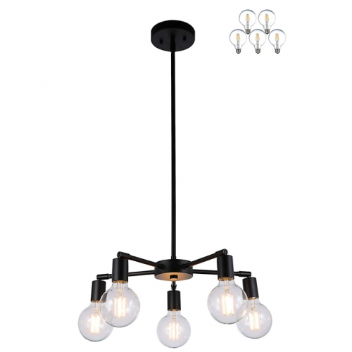 Chandelier Lights 5 Light Modern Pendant Light with Dimmable LED Filament Bulb in Matt Black, Vintage Industrial Ceiling Light  XB-C1211-5-MBK