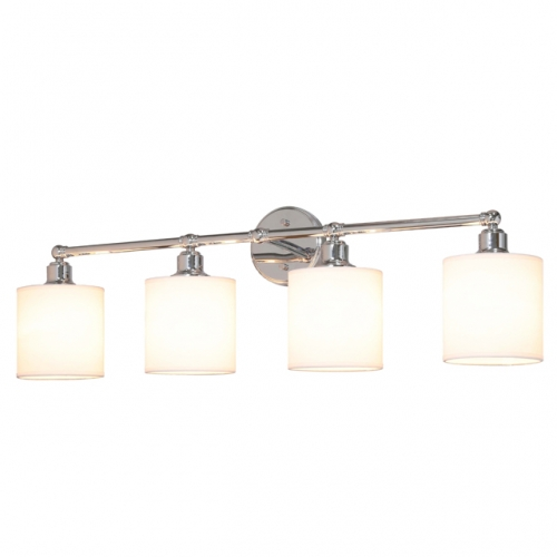 Wall Light 4 Light Bathroom Vanity Light with Drum Fabric Shade in Chrome, Modern Wall Mounted Sconce Light for Bathroom Bedroom & Living Room XB-W1214-4-CH