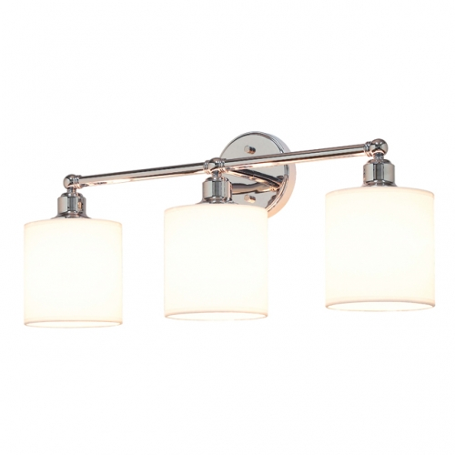 Wall Light 3 Light Bathroom Vanity Light with Drum Fabric Shade in Chrome, Modern Wall Mounted Sconce Light for Bathroom Bedroom & Living Room XB-W1214-3-CH