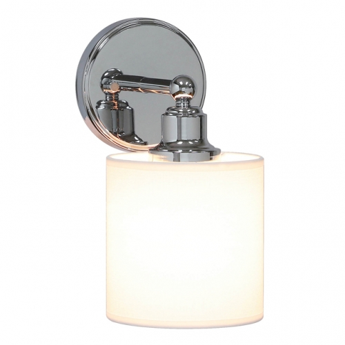 Wall Light 1 Light Wall Sconce with Drum Fabric Shade in Chrome, Modern Bath Sconce Vanity for Bathroom Bedroom & Living Room XB-W1214-1-CH