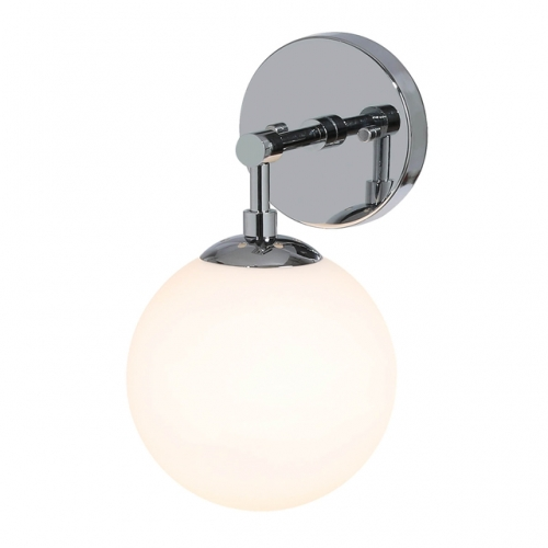 Wall Light 1 Light Vintage Wall Sconce with White Globe Glass, Up/Down Bathroom Wall Light in Chrome for Living Room & Kitchen XB-W121-CH