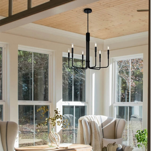 Chandelier Lights 6 Light Adjustable Pendant Chandelier with Dimmable LED Bulb in Matte Black, Vintage Industrial Hanging Ceiling Light for Living & Dinning Room XB-C1213-6-MBK