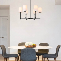 Chandelier Lights 6 Light Adjustable Pendant Chandelier with Fabric Shade in Matte Black, Modern Hanging Pendant Lighting for Living & Dinning Room XB-C1215-6-MBK