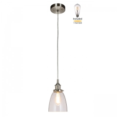 Pendant Light 1 Light Mini Pendant Light with Glass, Modern Hanging Ceiling Light Fitting with LED Bulb in Brushed Nickel for Loft, Bar and Kitchen  XB-P160-BN