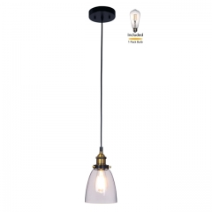 Pendant Light 1 Light Mini Pendant Light with Glass, Industrial Hanging Light Fitting with LED Bulb in Anti Brass & Matte Black for Loft, Bar and Kitchen  XB-P160-AB