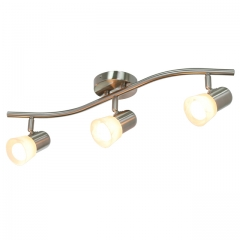 XiNBEi Lighting Track Lighting, 3 Light Track Light with Glass, Modern Track Light Bar Brushed Nickel for Kitchen and Dining Room XB-TR1213-3