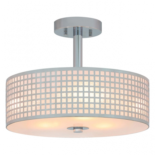 "Semi Flush Light, 3 Light Semi Flush Mount Ceiling Light 15"" Close to Ceiling Chrome Finish for Living & Dinning Room XB-SF1124-CH"