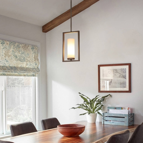 Pendant Light 1 Light Mini Pendant Lighting with Acrylic Shade, Modern Adjustable Kitchen Hanging Ceiling Light with GU24 Bulb Dark Bronze Finish XB-P1143-DB