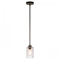 Pendant Lighting 1 Light Mini Pendant Light with Glass, Modern Adjustable Kitchen Hanging Ceiling Light Dark Bronze Finish XB-P1227-DB