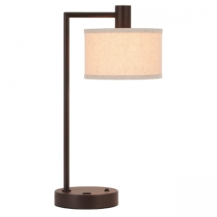 Table Lamp USB Desk Lamp with Fabric Shade, Modern Bedside Iron Lamp Dark Bronze Finish for Bedroom Living Room & Office XB-TL1230-DB