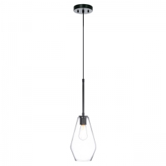 XiNBEi Pendant Light 1 Light Mini Pendant Light, Modern Adjustable Glass Kitchen Hanging Ceiling Light Matte Black Finish XB-P228-MBK