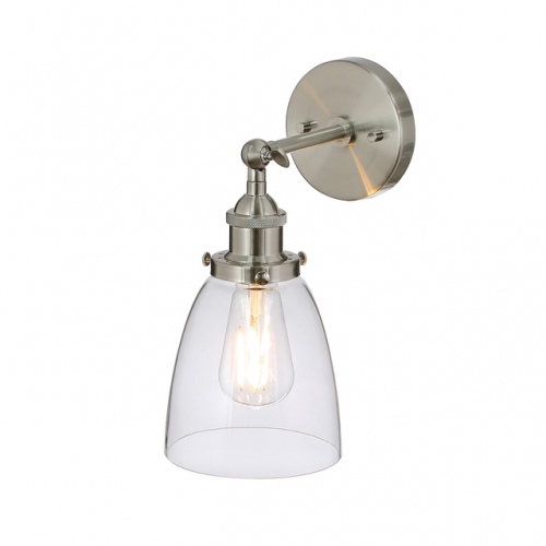 Wall Light 1 Light Glass Wall Lamp, Wall Sconce in Brushed Nickel for Loft, Kitchen & Corridor XB-W160-1-BN