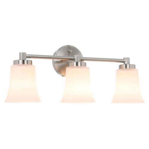 XiNBEi Lighting Vanity Light, Modern Bathroom Wall Light with Glass, Brushed Nickel 3 Light Bath Bar Light XB-W1235-3-BN