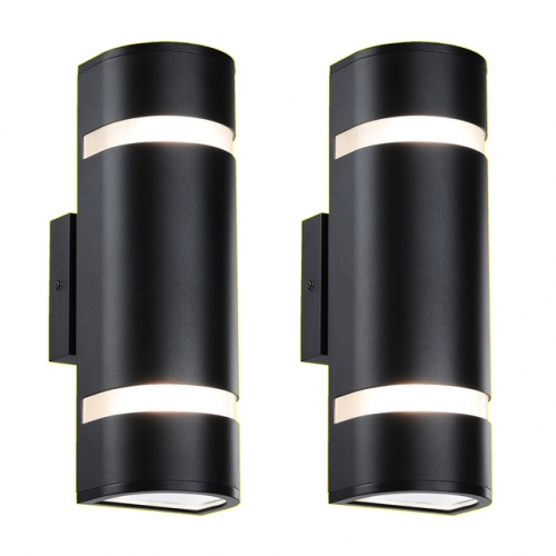 XiNBEi-Lighting Outdoor Wall Light, Modern Wall Sconce Black Water Proof D Shaped Wall Mount Light Suitable for Garden & Patio 2 Pack XB-W1112-2BK