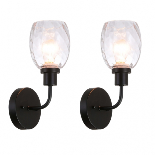 XiNBEi Lighting Wall Sconce, 1 Light Bathroom Vanity Wall Light with Clear Glass, Matte Black Finish 2 Pack XB-W1210-1-2MBK