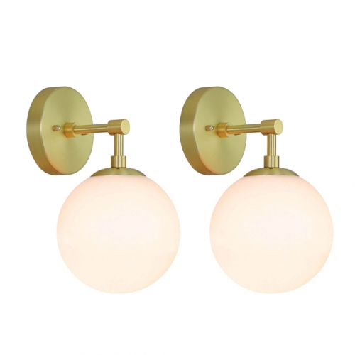 XiNBEi Lighting Wall Light 1 Light Globe Vintage Wall Sconce, Bathroom Vanity Lighting Satin Brass Finish 2 Pack XB-W1211-2SB
