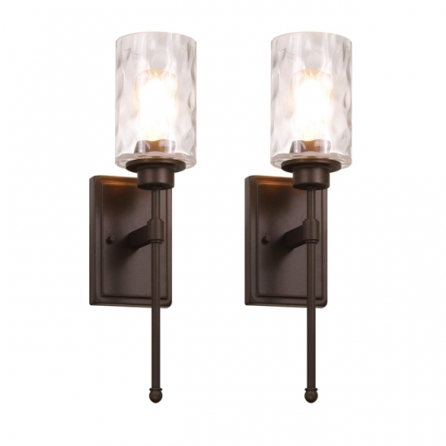 XiNBEi Lighting Wall Light 1 Light Wall Sconce with Glass, Classic Bathroom Vanity Light Dark Bronze Finish 2 Pack XB-W1227-2DB