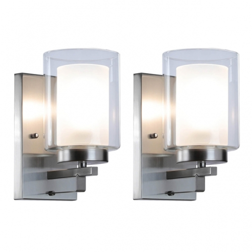 XiNBEi Lighting Wall Light 1 Light Bathroom Vanity Light with Dual Glass, Indoor Modern Brushed Nickel Wall Mounted Light 2 Pack XB-W1195-1-2BN