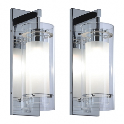 XiNBEi Lighting Wall Sconce 1 Light Bathroom Vanity Wall Light, Contemporary Chrome Wall Mount Light with Glass 2 Pack XB-W1159-2CH