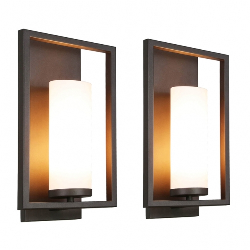 XiNBEi Lighting Wall Sconce 1 Light Bathroom Vanity Light with Acrylic Shade, Modern Kitchen & Corridor Sconces Wall Lighting in Dark Bronze 2 Pack XB-W1143-2DB