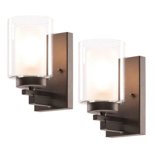 XiNBEi Lighting Wall Light, 1 Light Bathroom Vanity Lighting with Dual Glass, Dark Bronze Indoor Wall Mount Light 2 Pack XB-W1195-1-2DB