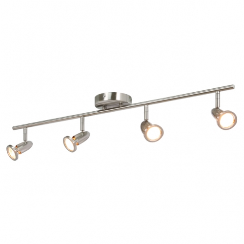 XiNBEi Lighting Track Lighting, 4 Light Track Light, Modern Straight Kitchen Light Fixtures Brushed Nickel Finish XB-TR1224-4-BN