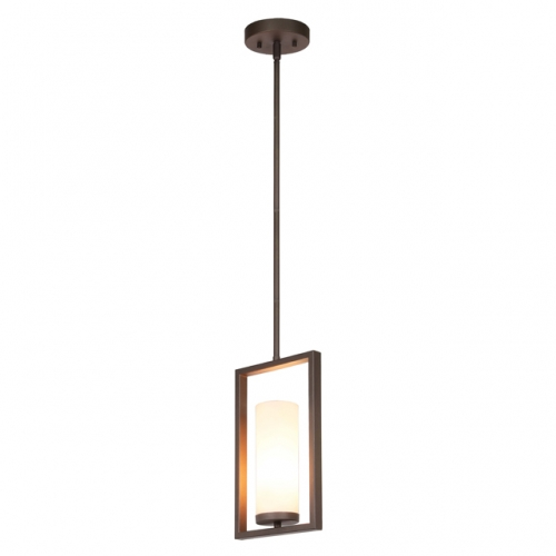 XiNBEi Lighting Pendant Light 1 Light Mini Pendant Lighting with Acrylic Shade, Modern Adjustable Kitchen Hanging Ceiling Light Dark Bronze Finish XB-P1143-1-DB
