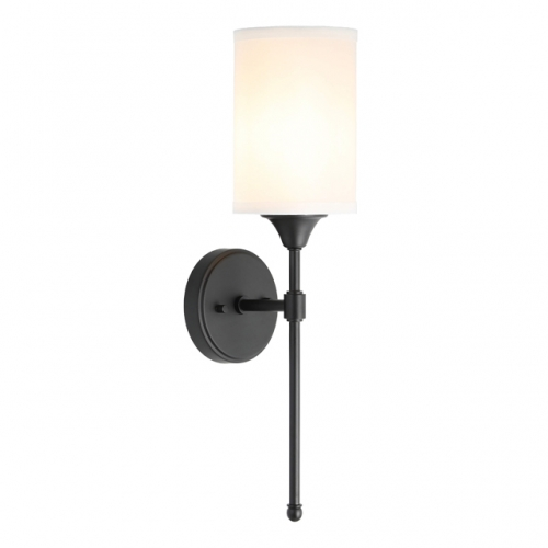 XiNBEi Lighting Wall Sconce Lighting, Classic 1 Light Black Bathroom Sconce Vanity Light with Fabric Shade for Corridor Bedroom & Living Room XB-W1260-MB