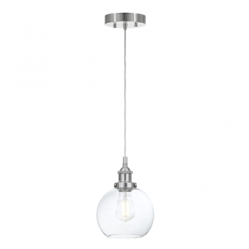 XiNBEi Pendant Light, Modern Industrial 1 Light Glass Kitchen Hanging Pendant Ceiling Lighting Brushed Nickel Finish for Kitchen & Dining Room XB-P256-BN