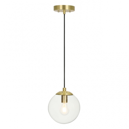 XiNBEi Pendant Light, Retro Vintage 1 Light Globe Adjustable Suspended Hanging Pendant Ceiling Lighting Satin Brass Finish for Kitchen & Dining Room XB-P259-SB
