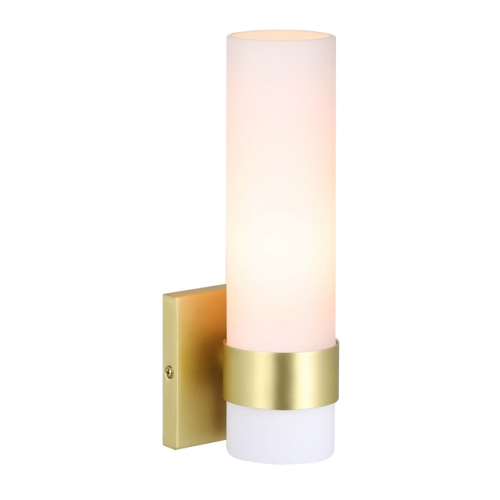 XiNBEi Lighting Sconces Wall Lighting, 1 Light ADA Wall Sconce, Vintage Bathroom Vanity Light with Tube Glass Satin Brass Finish for Kitchen & Corridor XB-W1185-SB
